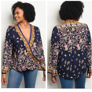 1XL - Navy Floral Top New